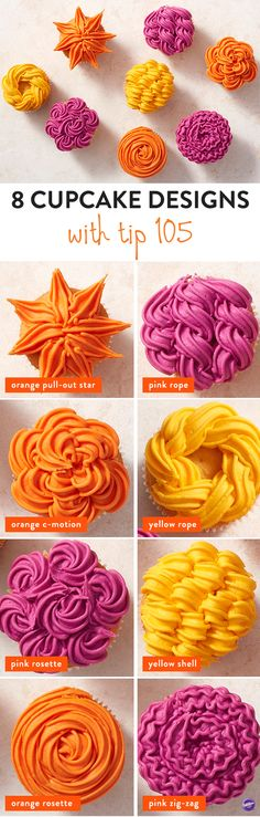 8 Cupcake Design Ideas with Wilton Tip 105 - Who knew that one decorating tip could offer you so many options? With some bright and bold icing and decorating tip 105, you can create 8 amazing cupcake designs that are far and above ordinary. Add texture and style to your treats with these brilliant tip 105 cupcake designs.