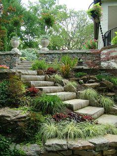 Stones steps and border garden
