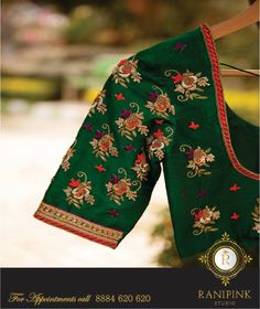 embroidered designser blouses for plain sarees Silk Saree Blouse Designs, Bridal Blouse Designs, Blouse Neck Designs, Blouse Patterns, Blouse Styles, Mirror Work Blouse, Maggam Work Designs, Blouse Desings, Sumo