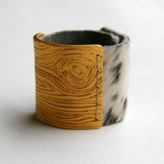 Gold Wood Veneer Cuff on Cowhide' by f is for frank
