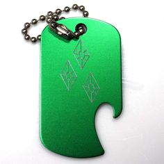 "MLP Rarity Green Key Chain 4"" Chain Dog Tag Aluminum Bottle Opener EDG-0232"