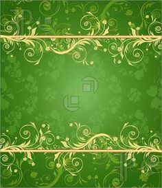 Templates Green And Gold Floral Background For Text With Pattern