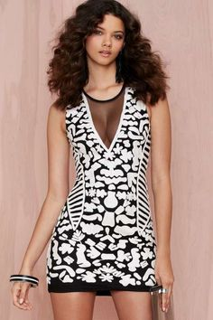 Nasty Gal White Room Embroidered Bodycon - Clothes
