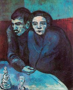 Man and woman in café by Pablo Picasso      Size: 81.5x65.5 cm  Medium: oil on canvas