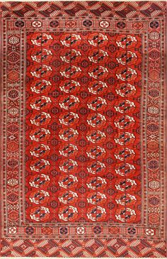 Tribal Antique Room Size Caucasian Turkoman Bokara Rug 50526