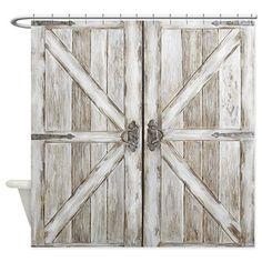 Distressed Barn Doo Wood Plank Tile Shower Curtain Door Farmhouse
