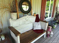 Summertime Porch Tour Antique Headboard Bench New Seat Diy