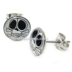 Pair Stainless Steel Cute Skull Round Post Stud Earrings 9mm