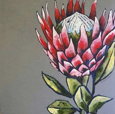 Line Art Flowers, Flower Art, Watercolor Flowers, Painting Flowers, Protea Art, Art Addiction, King Art, Africa Art, Rock Crafts