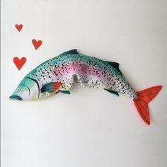 Lavender Fish  Eye Pillow  Organic Flax and от AliaGraceDolls