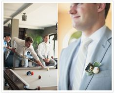 dusty blue groom's suit and white striped tie