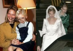 Archduchess Marie Christine of Austria with her little sister Archduchess Gabriella of Austria in the mid 1990s and on her wedding day, 2008.