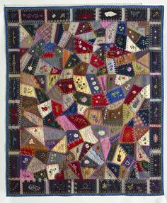 1897 - 1929 Edna Force Davis's Wool Crazy-patchwork Parlor Throw | National Museum of American History