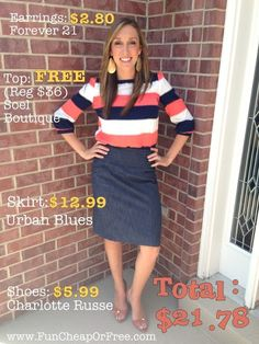 The Fun Cheap or Free Queen: What to Wear Wednesday: Frugal Fashion Breakdown - Sunday Stripes