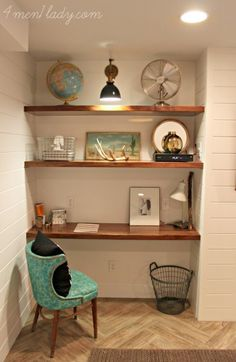 Don't think you have room for a home office? Think again - and think of a niche in your home to install shelves and create and instant workspace.