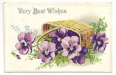 Very-Best-Wishes-Purple-Flowers-Basket-Unposted-Vintage-Postcard