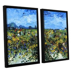 Green Vineyard by Vincent Van Gogh 2 Piece Floater Framed Canvas Set