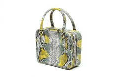 Bombay Citrine Voyager | Large  (faux) Snakeskin Cosmetic + Beauty Travel Bag