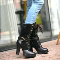 Lace Up Buckles Mid Calf Block High Heel Shoes Motorcycle Boots - Thumbnail 3