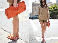 Love the neutral tones with orange accessories. Star Fashion, Fashion Beauty, Orange Accessories, Together Fashion, Orange Clutches, Burgundy Blazer, Orange Crush, Spring Jackets, All About Fashion