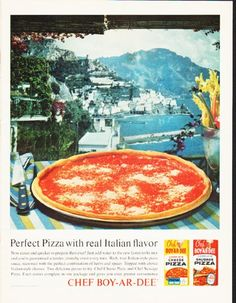 "Description: 1964 CHEF BOY-AR-DEE vintage magazine advertisement ""Perfect Pizza"" -- Perfect Pizza with real Italian flavor -- Size: The dimensions of the full-page advertisement are approximately 10.5 inches x 13.5 inches (26.75 cm x 34.25 cm). Condition: This original vintage full-page advertisement is in Excellent Condition unless otherwise noted."