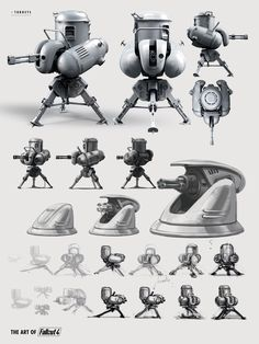 Fallout Turrets Fallout Art, Fallout Weapons, Fallout Theme, Fallout Posters, Fallout Props, Fallout Concept Art, Fallout Cosplay, Fallout New Vegas, Weapon Concept Art