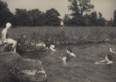 All the Longstaff Longstaff girls swimming in the River Ebble, Wiltshire Girls Swimming, Family Album, Photo Archive, British Style, Great Britain, River, Modern, Prints, Painting