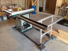 Table saw upgrade-new fence rail with steel and 80/20 aluminum table. Custom mobile base.: