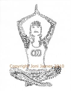Yoga Girl Art Calligraphy or Typography by CalligramORama on Etsy