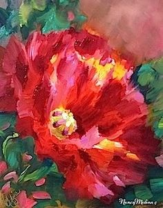 Morning Glow Poppy Solo and Getting Chewed Out by the Boss in Flower Mound Art Studio, painting by artist Nancy Medina