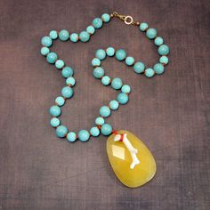 jewelry jewelry jewelry - Yellow and aqua necklace on coral silk cord by Adornments NYC