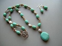 Turquoise and Silver Southwest Pendant Necklace  by Bejeweled Lady