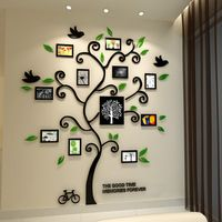 Recién llegado de feliz árbol de cristal marco de fotos pegatinas de pared de acrílico tridimensional pegatinas pared puerta de entrada fotos de la pared del sofá