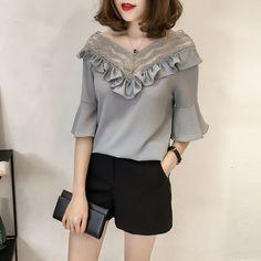 Buy YOSH Lace Trim Elbow Sleeve Blouse | YesStyle