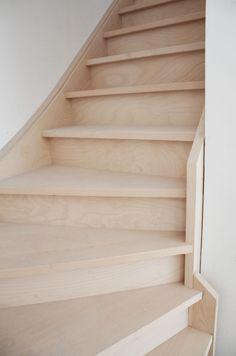 Lichte beuk houten trap casa stairs pinterest for Trap met kwartdraai