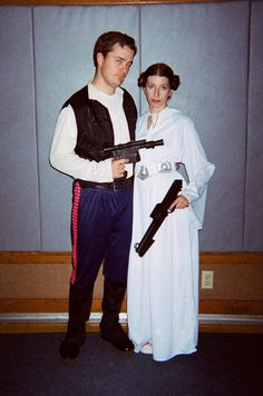 Han Solo and Princess Leia couples Halloween costume. hey that looks like an LDS cultural hall ;)