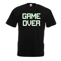 T-shirt pour hommes Jeu au-dessus des cadeaux drôles de gamer (X-Large Noir Fluorescent)
