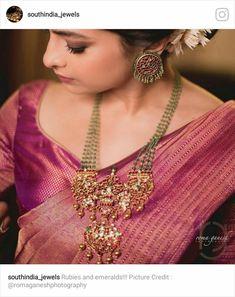 Indian Wedding Jewelry, South Indian Jewellery, Bridal Jewelry, Jade Jewelry, India Jewelry, Antique Necklace, Antique Jewelry, Diamond Necklace Set, Gold Jewellery Design