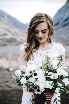 Provo Canyon Wedding Day Bridals // Kathryn & Travis via Rocky Mountain Bride // White wedding bouquet // anemones, scabiosa, stock, larkspur, olive branch // wedding makeup and hair // @signaturebrides Summer J Photo Golden Petals Floral @bridalimage