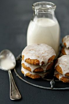 Soft, spicy, cake-like Pumpkin Cookies topped with a sweet vanilla glaze. #cookies #pumpkin