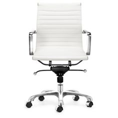@Overstock.com - Chrome-plated, steel frame office chair looks as good as it worksOffice furniture features rolling base for effortless comfortWashable leatherette furniture easy to keep cleanhttp://www.overstock.com/Home-Garden/Manhattan-Adjustable-White-Office-Chair/3097390/product.html?CID=214117 $187.99