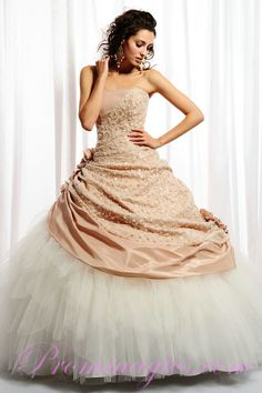 Taffeta and Tulle Flowers Trimmed Strapless Quinceanera Gowns from prommagics.com $ 199.99