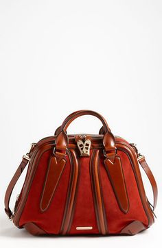 Burberry Suede & Leather Bowling Bag