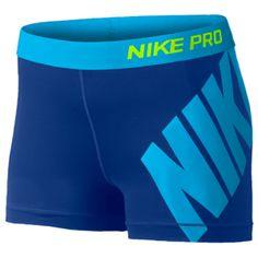 "Nike Pro 3"" Compression Shorts - Women's - Deep Royal Blue/Blue Lagoon"