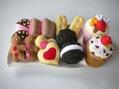 Felt Cookies and Cup Cakes Pattern on etsy
