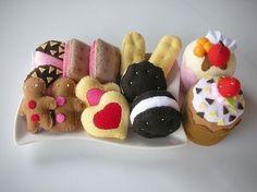 Liebe Cookies und Cup Cake PDF Filz Nähen Muster von julyhobby