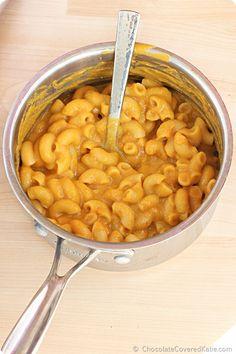 Homemade Pumpkin Mac and Cheese - {healthy makeover recipe} http://chocolatecoveredkatie.com/2014/10/08/pumpkin-mac-cheese/