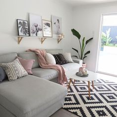Use these gorgeous modern living room ideas, even if you have a small living room or lounge, as a starting point for your living room design decorating project. Small Living Rooms, Living Room Modern, Home Living Room, Blush And Grey Living Room, Living Area, Cozy Living, Living Room Decor Simple, Small Living Room Designs, Small Couches Living Room