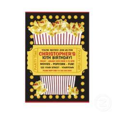 Popcorn and a Movie Birthday Party Invitation invitation