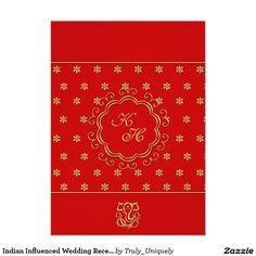 """Recepción nupcial influenciada india en rojo y oro invitación 4.5"""" x 6.25"""""""